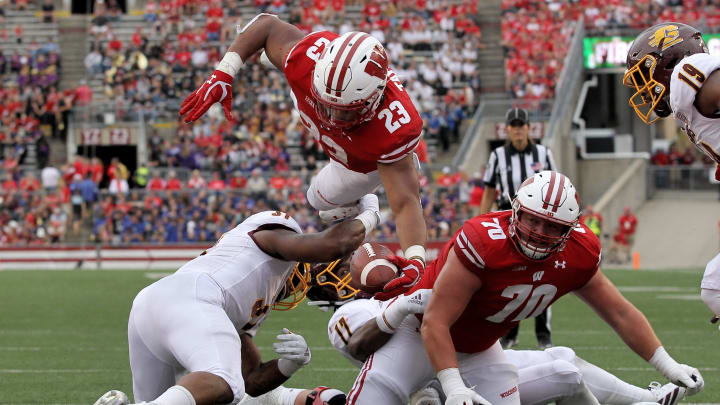 MADISON, WISCONSIN - SEPTEMBER 07:  Jonathan Taylor #23 of the Wisconsin Badgers scores a touchdown in the third quarter against the Central Michigan Chippewas at Camp Randall Stadium on September 07, 2019 in Madison, Wisconsin. (Photo by Dylan Buell/Getty Images)