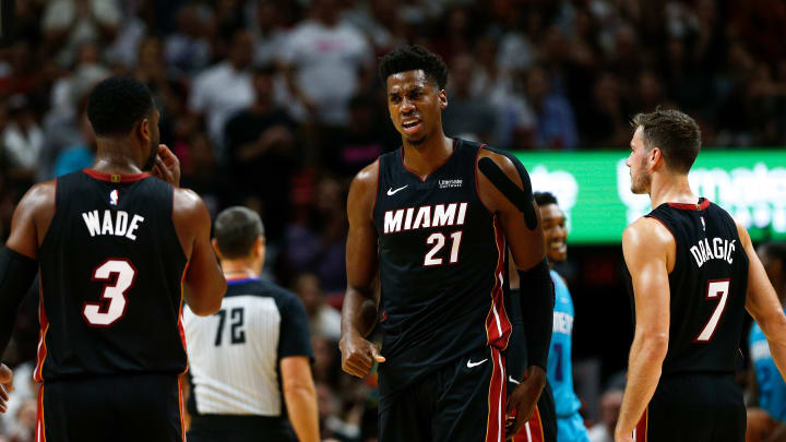MIAMI, FL - OCTOBER 20:  Hassan Whiteside #21 of the Miami Heat reacts against the Charlotte Hornets during the second half at American Airlines Arena on October 20, 2018 in Miami, Florida. NOTE TO USER: User expressly acknowledges and agrees that, by downloading and or using this photograph, User is consenting to the terms and conditions of the Getty Images License Agreement.  (Photo by Michael Reaves/Getty Images)