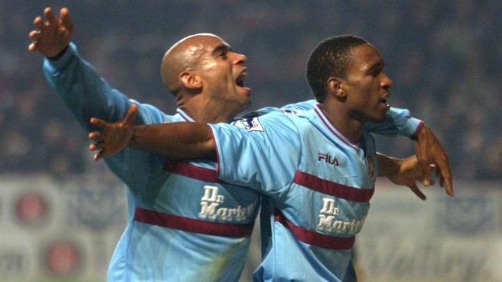 Trevor Francis (left) and Jermain Defoe (right) in the 2001/02 kit.
