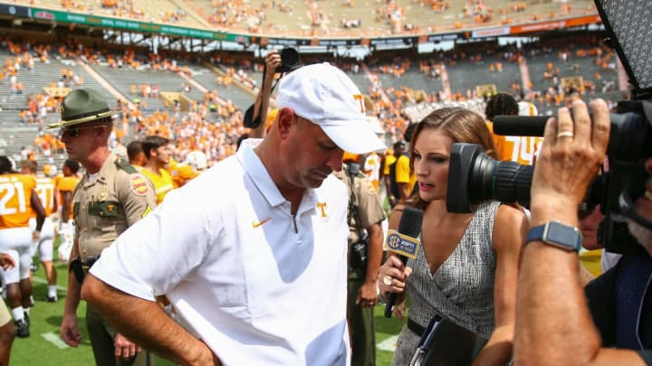 KNOXVILLE, TENNESSEE - SEPTEMBER 14: Head coach Jeremy Pruitt of the Tennessee Volunteers gives a post-game interview after defeating the Chattanooga Mockingbirds 45-0  at Neyland Stadium on September 14, 2019 in Knoxville, Tennessee. (Photo by Silas Walker/Getty Images)