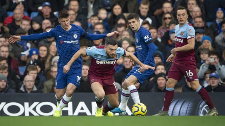 Robert Snodgrass battling for the ball against Chelsea