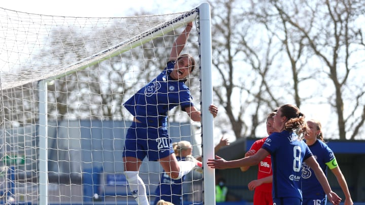 Sam Kerr hangs from the crossbar, because why not?