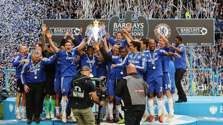 Chelsea players celebrate with the Barcl