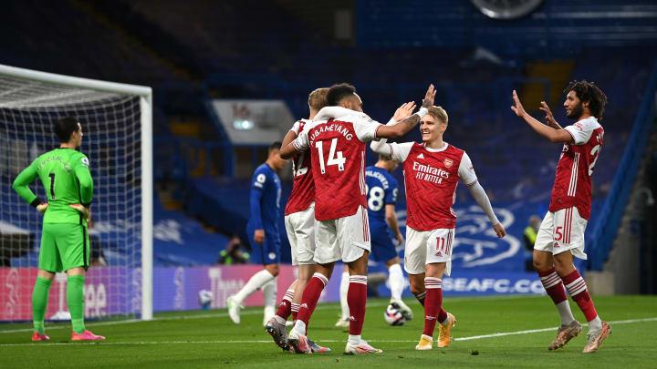 Arsenal celebrate the opener
