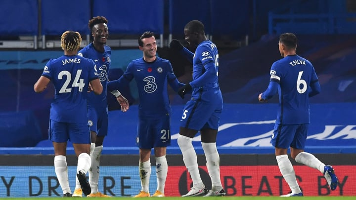 Chelsea players celebrate Ben Chilwell's first-half strike