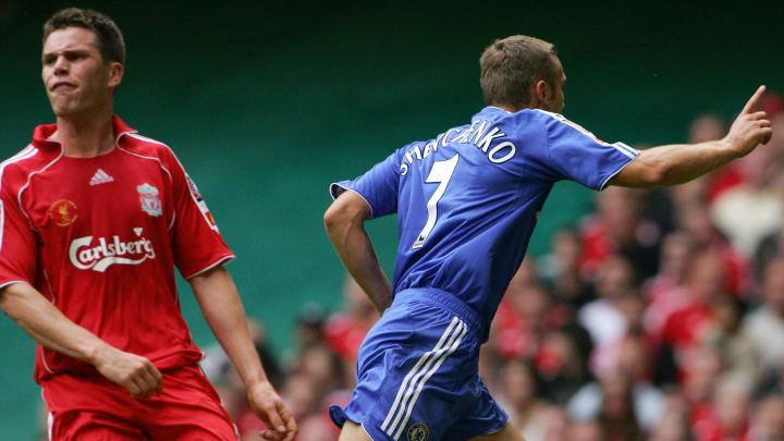 Chelsea's Andriy Shevchenko (R) celebrat