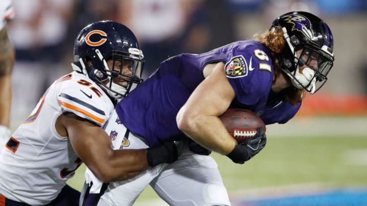 CANTON, OH - AUGUST 02: Hayden Hurst #81 of the Baltimore Ravens makes a reception against Jonathan Anderson #52 of the Chicago Bears in the first quarter of the Hall of Fame Game at Tom Benson Hall of Fame Stadium on August 2, 2018 in Canton, Ohio. (Photo by Joe Robbins/Getty Images)