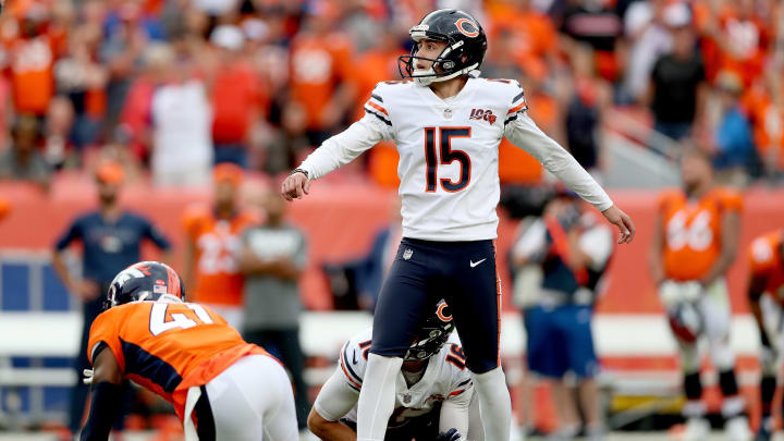 DENVER, COLORADO - SEPTEMBER 15: Pat O'Donnell #19 holds as Eddy Pineiro #15 of the Chicago Bears kicks a 53 yard field goal in the final second of the fourth quarter to defeat the Denver Broncos at Empower Field at Mile High on September 15, 2019 in Denver, Colorado. (Photo by Matthew Stockman/Getty Images)