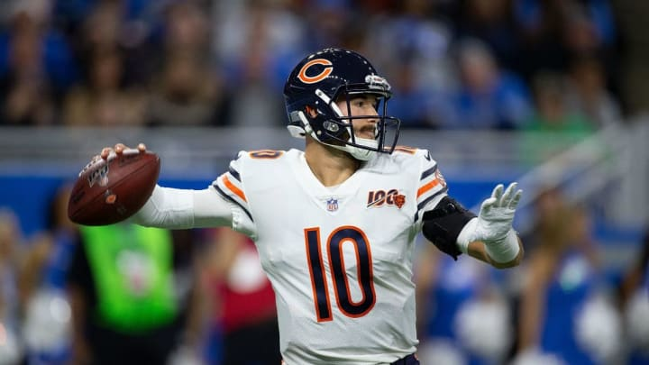 DETROIT, MI - NOVEMBER 28: Mitchell Trubisky #10 of the Chicago Bears drops back to pass during the second quarter of the game against the Detroit Lions at Ford Field on November 28, 2019 in Detroit, Michigan. (Photo by Leon Halip/Getty Images)