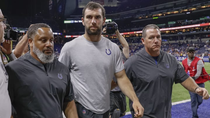 INDIANAPOLIS, IN - AUGUST 24: Andrew Luck #12 of the Indianapolis Colts walks off the field following reports of his retirement from the NFL after the preseason game against the Chicago Bears at Lucas Oil Stadium on August 24, 2019 in Indianapolis, Indiana. (Photo by Michael Hickey/Getty Images)