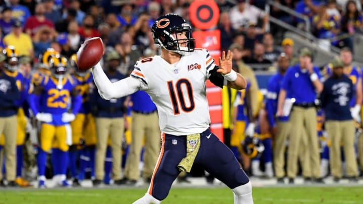 LOS ANGELES, CA - NOVEMBER 17: Quarterback Mitchell Trubisky #10 of the Chicago Bears passes the ball in the second quarter of the game against the Los Angeles Rams at the Los Angeles Memorial Coliseum on November 17, 2019 in Los Angeles, California. (Photo by Jayne Kamin-Oncea/Getty Images)