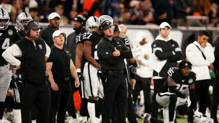 LONDON, ENGLAND - OCTOBER 06: Head Coach, Jon Gruden of the Oakland Raiders looks on during the NFL match between the Chicago Bears and Oakland Raiders at Tottenham Hotspur Stadium on October 06, 2019 in London, England. (Photo by Jack Thomas/Getty Images)