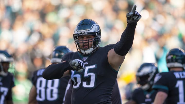 PHILADELPHIA, PA - NOVEMBER 03: Lane Johnson #65 of the Philadelphia Eagles reacts after a touchdown against the Chicago Bears in the third quarter at Lincoln Financial Field on November 3, 2019 in Philadelphia, Pennsylvania. (Photo by Mitchell Leff/Getty Images)