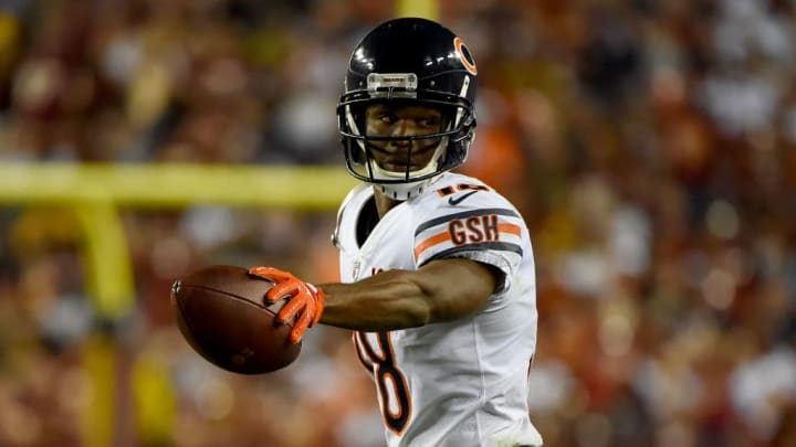 LANDOVER, MD - SEPTEMBER 23: Taylor Gabriel #18 of the Chicago Bears reacts after a play against the Washington Redskins during the second half at FedExField on September 23, 2019 in Landover, Maryland. (Photo by Will Newton/Getty Images)