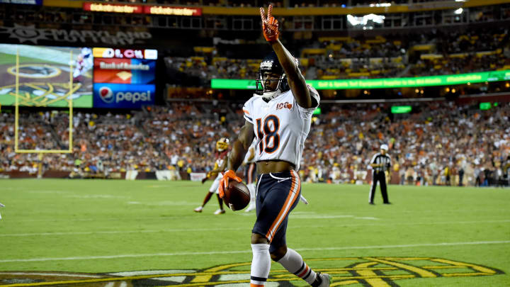 LANDOVER, MD - SEPTEMBER 23: Taylor Gabriel #18 of the Chicago Bears celebrates after scoring a touchdown during the first half against the Washington Redskins at FedExField on September 23, 2019 in Landover, Maryland. (Photo by Will Newton/Getty Images)