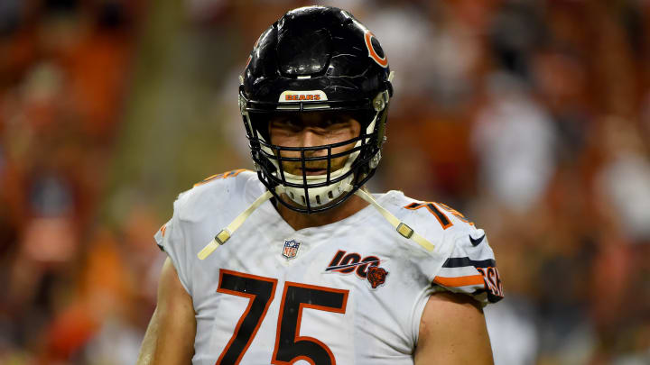 LANDOVER, MD - SEPTEMBER 23: Kyle Long #75 of the Chicago Bears looks on during the second half against the Washington Redskins at FedExField on September 23, 2019 in Landover, Maryland. (Photo by Will Newton/Getty Images)
