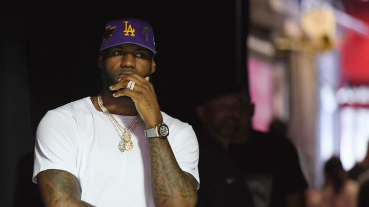 LAS VEGAS, NEVADA - JULY 05:  LeBron James of the Los Angeles Lakers waits to walk out to the court for a game between the Chicago Bulls and the Lakers during the 2019 NBA Summer League at the Thomas & Mack Center on July 5, 2019 in Las Vegas, Nevada. NOTE TO USER: User expressly acknowledges and agrees that, by downloading and or using this photograph, User is consenting to the terms and conditions of the Getty Images License Agreement.  (Photo by Ethan Miller/Getty Images)