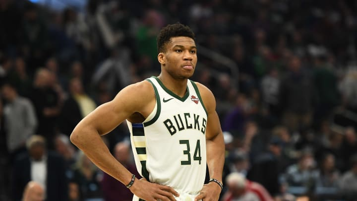 MILWAUKEE, WISCONSIN - NOVEMBER 14:  Giannis Antetokounmpo #34 of the Milwaukee Bucks waits for a free throw during a game against the Chicago Bulls at Fiserv Forum on November 14, 2019 in Milwaukee, Wisconsin. NOTE TO USER: User expressly acknowledges and agrees that, by downloading and or using this photograph, User is consenting to the terms and conditions of the Getty Images License Agreement. (Photo by Stacy Revere/Getty Images)