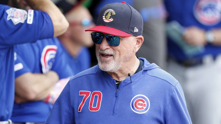 CHICAGO, ILLINOIS - JULY 07: Chicago Cubs manager Joe Maddon #70 in the dugout, during the fifth inning against the Chicago White Sox at Guaranteed Rate Field on July 07, 2019 in Chicago, Illinois. (Photo by Nuccio DiNuzzo/Getty Images)
