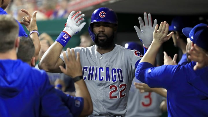 CINCINNATI, OHIO - JUNE 28:   Jason Heyward #22 of the Chicago Cubs celebrates with teammates after hitting a two run home run in the 7th inning against the Cincinnati Reds at Great American Ball Park on June 28, 2019 in Cincinnati, Ohio. (Photo by Andy Lyons/Getty Images)