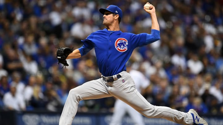 MILWAUKEE, WISCONSIN - SEPTEMBER 06:  Cole Hamels #35 of the Chicago Cubs throws a pitch during a game against the Milwaukee Brewers at Miller Park on September 06, 2019 in Milwaukee, Wisconsin. (Photo by Stacy Revere/Getty Images)