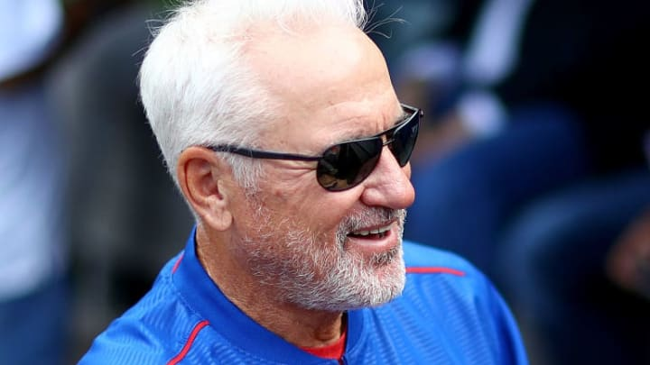 NEW YORK, NY - JULY 02:  Manager Joe Maddon #70 of the Chicago Cubs talks in the dugout before the game against the New York Mets at Citi Field on July 2, 2016 in the Flushing neighborhood of the Queens borough of New York City.  (Photo by Elsa/Getty Images)