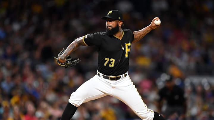 PITTSBURGH, PA - AUGUST 16:  Felipe Vazquez #73 of the Pittsburgh Pirates pitches during the eighth inning against the Chicago Cubs at PNC Park on August 16, 2019 in Pittsburgh, Pennsylvania. (Photo by Joe Sargent/Getty Images)