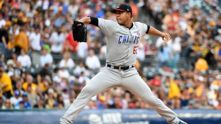 PITTSBURGH, PA - JULY 04: Jose Quintana #62 of the Chicago Cubs delivers a pitch in the first inning during the game against the Pittsburgh Pirates at PNC Park on July 4, 2019 in Pittsburgh, Pennsylvania. (Photo by Justin Berl/Getty Images)