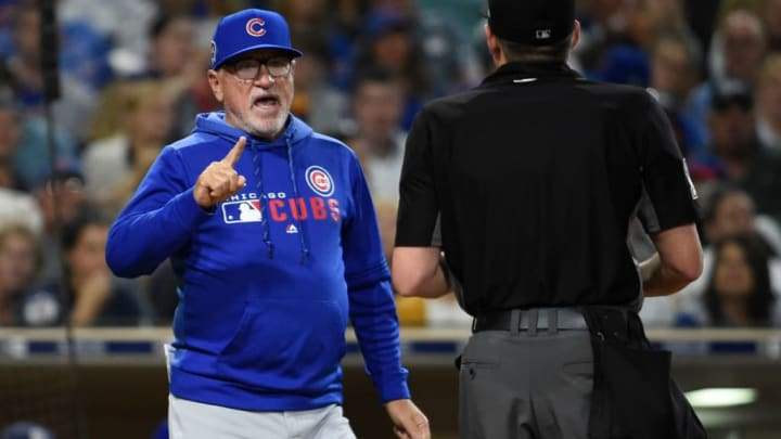 SAN DIEGO, CA - SEPTEMBER 11: Joe Maddon #70 of the Chicago Cubs argues a call with home plate umpire D.J. Rayburn during the eighth inning of a baseball game against the San Diego Padres at Petco Park September 11, 2019 in San Diego, California.  (Photo by Denis Poroy/Getty Images)