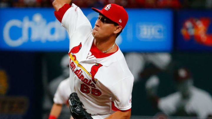 ST LOUIS, MO - JULY 30: Giovanny Gallegos #65 of the St. Louis Cardinals delivers a pitch against the Chicago Cubs in the seventh inning at Busch Stadium on July 30, 2019 in St Louis, Missouri. (Photo by Dilip Vishwanat/Getty Images)