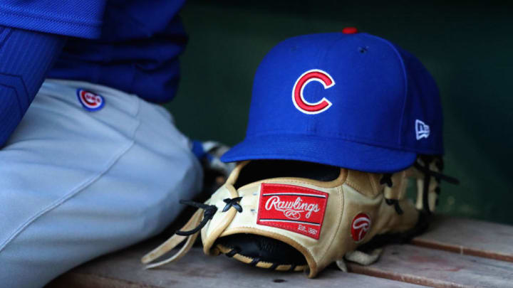 WASHINGTON, DC - JUNE 26: A hat and glove sit on the bench in the Chicago Cubs dugout during the Cubs game against the Washington Nationals at Nationals Park on June 26, 2017 in Washington, DC.  (Photo by Rob Carr/Getty Images)