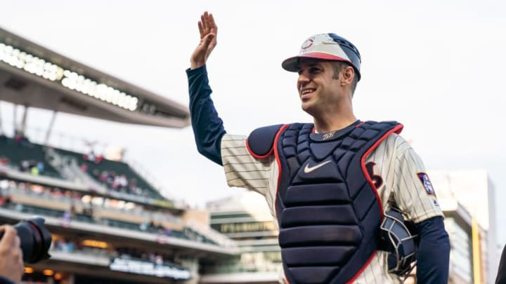 MINNEAPOLIS, MN- SEPTEMBER 30: Joe Mauer #7 of the Minnesota Twins looks on and acknowledges the fans after catching against the Chicago White Sox on September 30, 2018 at Target Field in Minneapolis, Minnesota. The Twins defeated the White Sox 5-4. (Photo by Brace Hemmelgarn/Minnesota Twins/Getty Images)