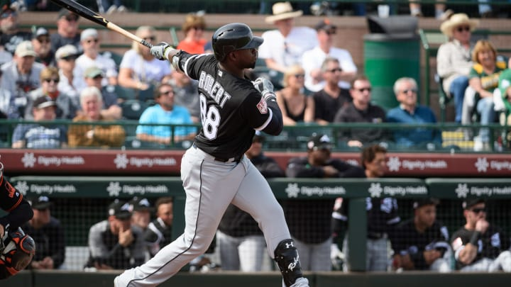 SCOTTSDALE, ARIZONA - FEBRUARY 25: Luis Robert #88 of the Chicago White Sox hits a two run triple during the spring training game against the San Francisco Giants at Scottsdale Stadium on February 25, 2019 in Scottsdale, Arizona. (Photo by Jennifer Stewart/Getty Images)