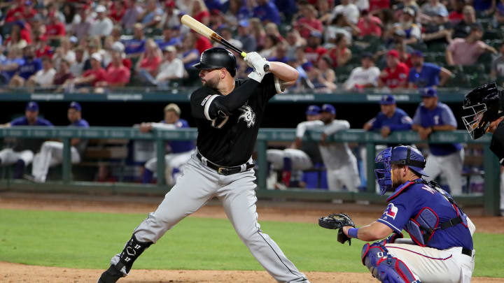 ARLINGTON, TEXAS - JUNE 22: Yonder Alonso #17 of the Chicago White Sox at bat against the Texas Rangers at Globe Life Park in Arlington on June 22, 2019 in Arlington, Texas. (Photo by Tom Pennington/Getty Images)