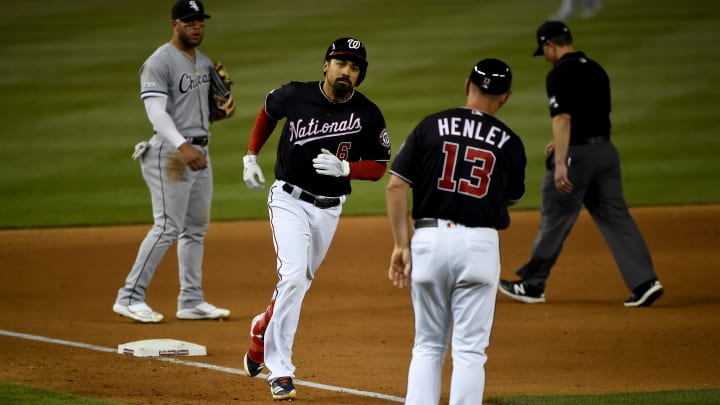 WASHINGTON, DC - JUNE 04: Anthony Rendon #6 of the Washington Nationals rounds the bases after hitting a three-run home run against the Chicago White Sox during the fifth inning at Nationals Park on June 4, 2019 in Washington, DC. (Photo by Will Newton/Getty Images)