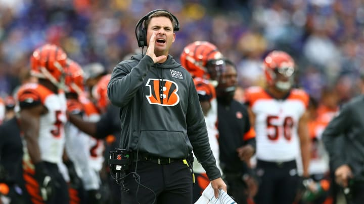 BALTIMORE, MD - OCTOBER 13: Head coach Zac Taylor of the Cincinnati Bengals looks on against the Baltimore Ravens during the second half at M&T Bank Stadium on October 13, 2019 in Baltimore, Maryland. (Photo by Dan Kubus/Getty Images)