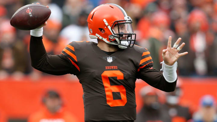 CLEVELAND, OH - DECEMBER 23:  Baker Mayfield #6 of the Cleveland Browns looks to pass during the first half against the Cincinnati Bengals at FirstEnergy Stadium on December 23, 2018 in Cleveland, Ohio. (Photo by Kirk Irwin/Getty Images)