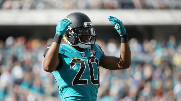 JACKSONVILLE, FL - NOVEMBER 05:  Jalen Ramsey #20 of the Jacksonville Jaguars waits on the field in the first half of their game against the Cincinnati Bengals at EverBank Field on November 5, 2017 in Jacksonville, Florida.  (Photo by Logan Bowles/Getty Images)