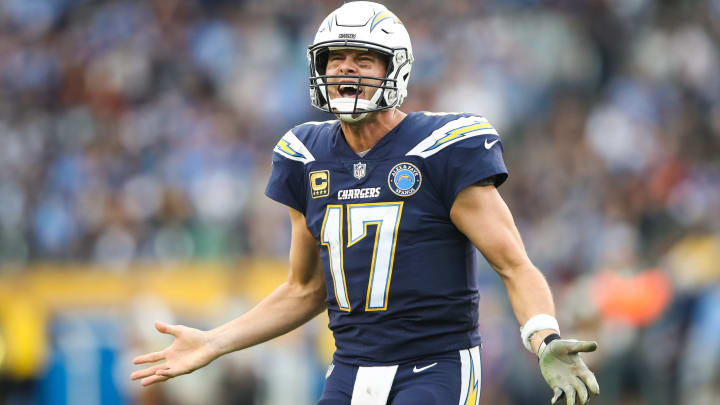 CARSON, CA - DECEMBER 09: Quarterback Philip Rivers #17 of the Los Angeles Chargers tries to get the attention of the referee after an incomplete pass in the fourth quarter against the Cincinnati Bengals at StubHub Center on December 9, 2018 in Carson, California. (Photo by Sean M. Haffey/Getty Images)