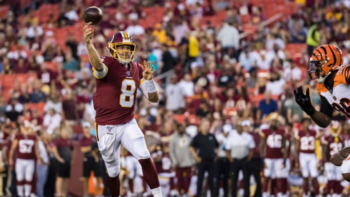 LANDOVER, MD - AUGUST 15: Case Keenum #8 of the Washington Redskins attempts a pass against the Cincinnati Bengals during the first half of a preseason game at FedExField on August 15, 2019 in Landover, Maryland. (Photo by Scott Taetsch/Getty Images)