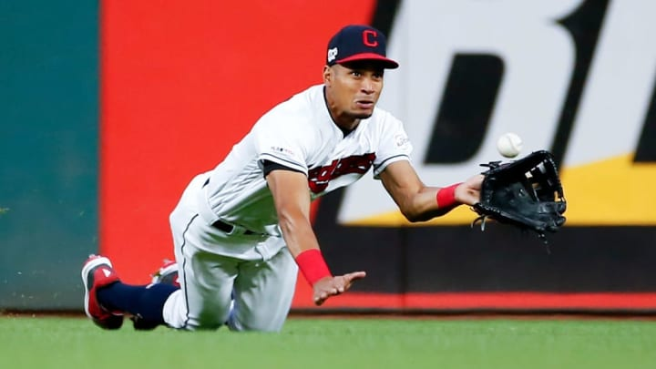 CLEVELAND, OH - JUNE 11: Oscar Mercado #35 of the Cleveland Indians makes a diving attempt on a double by Yasiel Puig #66 of the Cincinnati Reds during the seventh inning at Progressive Field on June 11, 2019 in Cleveland, Ohio. (Photo by Ron Schwane/Getty Images)