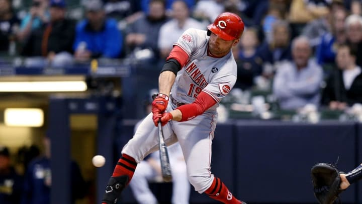 MILWAUKEE, WISCONSIN - MAY 21:  Joey Votto #19 of the Cincinnati Reds strikes out in the first inning against the Milwaukee Brewers at Miller Park on May 21, 2019 in Milwaukee, Wisconsin. (Photo by Dylan Buell/Getty Images)