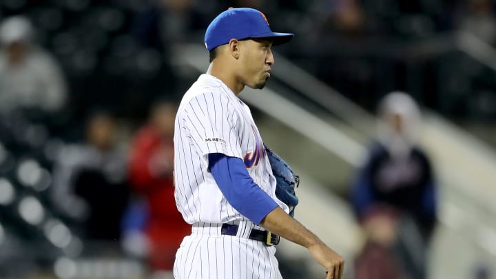NEW YORK, NEW YORK - APRIL 29:  Edwin Diaz #39 of the New York Mets reacts after giving up the game winning home run to Jesse Winker of the Cincinnati Reds in the ninth inning at Citi Field on April 29, 2019 in the Flushing neighborhood of the Queens borough of New York City.The Cincinnati Reds defeated the New York Mets 5-4. (Photo by Elsa/Getty Images)