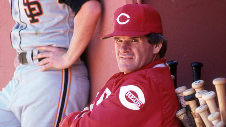 SAN FRANCISCO, CA: Pete Rose manager of the Cincinnati Reds circa 1989 manages against the San Francisco Giants at Candlestick Park in San Francisco, California.  (Photo by Owen C. Shaw/Getty Images)