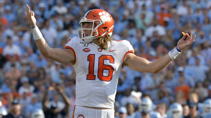 CHAPEL HILL, NORTH CAROLINA - SEPTEMBER 28: Trevor Lawrence #16 of the Clemson Tigers looks to the sideline during the first half of their game against the North Carolina Tar Heels at Kenan Stadium on September 28, 2019 in Chapel Hill, North Carolina. (Photo by Grant Halverson/Getty Images)
