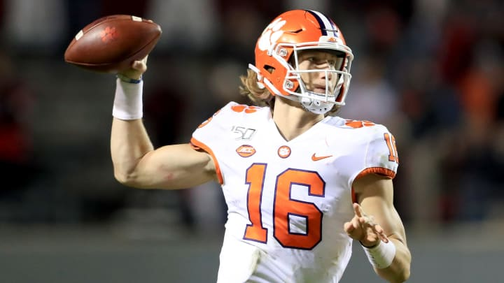 RALEIGH, NORTH CAROLINA - NOVEMBER 09: Trevor Lawrence #16 of the Clemson Tigers drops back to pass against the North Carolina State Wolfpack during their game at Carter-Finley Stadium on November 09, 2019 in Raleigh, North Carolina. (Photo by Streeter Lecka/Getty Images)