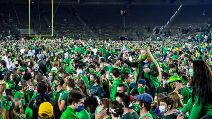 Notre Dame students celebrate after upsetting Clemson.