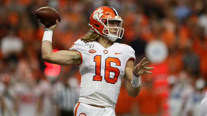 SYRACUSE, NEW YORK - SEPTEMBER 14: Trevor Lawrence #16 of the Clemson Tigers throws the ball during a game against the Syracuse Orange at the Carrier Dome on September 14, 2019 in Syracuse, New York. (Photo by Bryan M. Bennett/Getty Images)