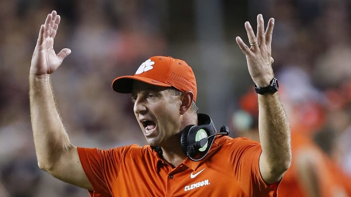 COLLEGE STATION, TX - SEPTEMBER 08:  Head coach Dabo Swinney of the Clemson Tigers shows his displeasure with the officials call in the fourth quarter against the Texas A&M Aggies  at Kyle Field on September 8, 2018 in College Station, Texas.  (Photo by Bob Levey/Getty Images)