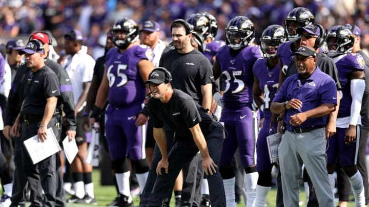 BALTIMORE, MARYLAND - SEPTEMBER 29: Head coach John Harbaugh of the Baltimore Ravens looks on in the second half against the Cleveland Browns at M&T Bank Stadium on September 29, 2019 in Baltimore, Maryland. (Photo by Rob Carr/Getty Images)